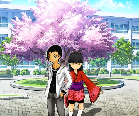 Yscariot and Miho during the Sakura season. Characters by Rin, background by unknown.
